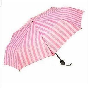Victoria's Secret Pink Striped Compact Umbrella